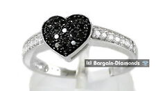 Black Diamond Heart 10K White Gold Ring .34-ct love promise engagement wedding