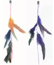 2 X Colored Feather Clip On In Hair Extensions Handmade Beauty Gift Party O/P