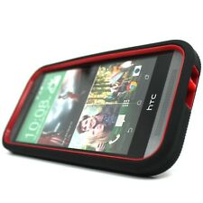 For HTC One 2 M8 Black Red Tough Rugged Stand Hard Soft Cover Case Accessory