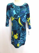 Trina By Trina Turk Retro Blue Print Shift Tunic Jersey Dress XS NWT $168