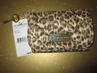 Steve Madden Quilted Coin Pouch Mini Purse ID Wallet $38 Animal Tan Gold