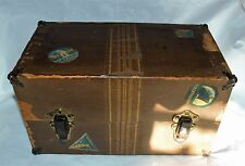 Antique  Wood Doll Trunk Chest Clothes Storage Steamer Drawers Stickers
