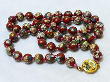 "CHINESE VINTAGE CLOISONNE ENAMEL 10mm BEAD NECKLACE, 25"" LONG"