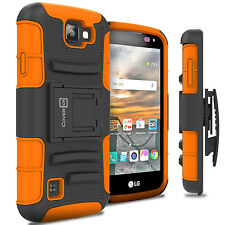 For LG K3 Holster Case Kickstand Hybrid Phone Cover Orange Neon / Black