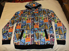 BBC Doctor Who Mens Comic Printed Zip Up Hoodie Jumper Top Size XL New