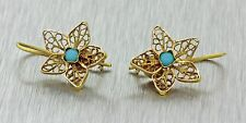 Antique Vintage Estate 14k Solid Yellow Gold Turquoise Filigree Star Earrings