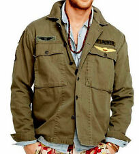 POLO RALPH LAUREN DENIM & SUPPLY OLIVE MILITARY PATCH HBT 13-STAR SHIRT JACKET