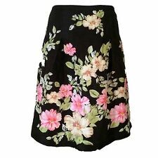 Nordstrom Caslon Skirt Black with Pink and Green Flowers Silk Linen 10