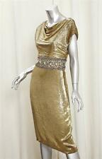 MARCHESA Womens Gold Beaded Silk Draped Neckline Cocktail Sheath Dress 6