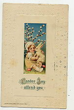 POSTCARD EASTER - VINTAGE WINSCH 1913 -EMBOSSED - BABY W/ BUNNY - PUSSY WILLOWS