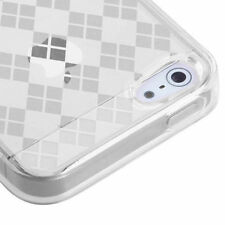 For iPhone SE 5S - CANDY SKIN FLEX GEL SILICONE RUBBER CASE WHITE CLEAR PLAIDS