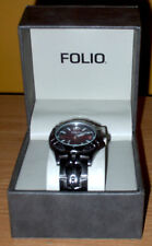 Men's Stainless Steel Folio Wristwatch - Red Dial, Silver Numbers - New In Box!