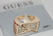 NWT GUESS Gold Metal-Rhinestones Flat Front Overlapping Band Ring, Size 7