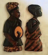 "Set of 2 Hand-Carved 15""  African Man and Woman-Wall Decor-Ghana(2)"