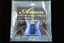 1 Set of Aman Electric Guitar Strings 1st-6th Steel Strings 009 Extra Light