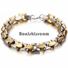 Men's Stainless Steel Square Cuban Curb Link Chain Bracelet Gold Silver Tone