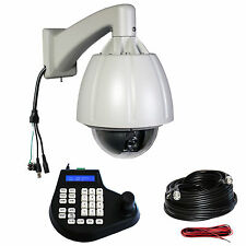"CCTV 7"" Dome 264x Zoom H-Speed 480TVL D/N PTZ Outdoor Camera Joystick Cable KIT"