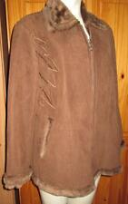EMBELLISHED FAUX SUEDE & FUR LINED BUSINESS CASUAL  EVERYDAY JACKET COAT 16