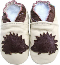 carozoo soft sole leather toddler shoes hedgehog cream 3-4t