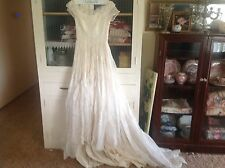GORGEOUS Vintsge EDWARDIAN style Tambour Lace? ORNATE w/Tull Wedding Gown