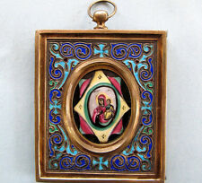 Rare Imperial Russian Silver-Gilt Enamel Travel Icon