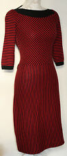 20% CASHMERE 80% WOOL S/8/10 BETSY JOHNSON RED/BLACK 50'S STYLE KNITTED DRESS