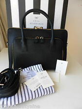 NEW AUTHENTIC ANYA HINDMARCH BLACK MAXI ZIP TOP HANDLE LEATHER TOTE /BAG