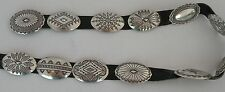 Large fine Vincent James Platero sterling silver Navajo rug design concho belt