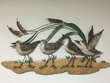 Sandpiper Beach Coastal Nautical Metal Wall Decor Lake Seaside Birds 3D Wall Art