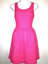 ELLE WOMENS LADIES LINED BRIGHT PINK 100% COTTON EYELET WASHABLE DRESS ~SZ 4