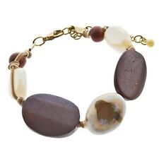 Adjustable Cream Beige Brown Natural Stone Wood Bead Gold Cord Jewelry Bracelet