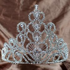 Heart Wedding Tiara Large Pageant Crown Clear Rhinestones Crystal Party Headband