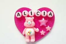 PERSONALIZED CARE BEAR HEART PINK RN NURSE MEDICAL ONCOLOGY ID BADGE HOLDER