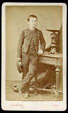 photo cdv Lumière à Lyon  . Enfant . uniforme  . Bourgeoisie . Noblesse