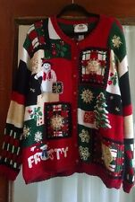 Tiara Christmas Sweater 2X Cardigan Santa Snowman Patchwork Quilt Embellished