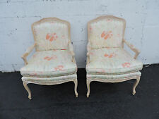 Pair of Vintage French Wide Living Room Side by Side Chairs 7544