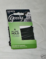10 Goody StayPut Hair Tie Elastic Band Ponytailer Black No Slip Grip Slide Proof