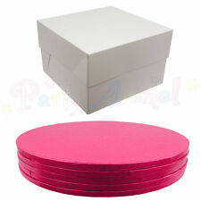 Pack of 5 - Cake Drum Boards and White Boxes - CERISE PINK- Wedding & Sugarcraft