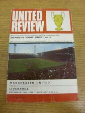 14/12/1968 Manchester United v Liverpool  (folded, creased, writing on front & b