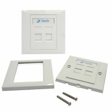 Tede 2 Port UK Style Wall Socket Outlet Panel RJ45 RJ11 Network Keystone Jack