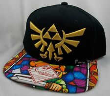 Nintendo The Legend Of Zelda Stained Glass Tri-Force Logo Snapback Hat Ball Cap