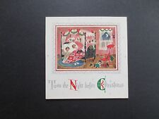#K386- Vintage Xmas Greeting Card Twas the Night Before Christmas Kids in Bed