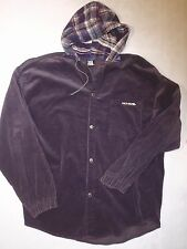 Vintage No Fear men's large purple corduroy snap up jacket plaid flannel hood