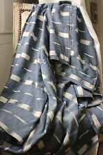 Antique Ikat fabric French flamme 18th century indigo timeworn panel drape FADED