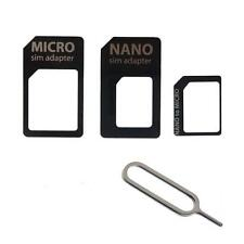 KIT 4in1 ADAPTER CARD ADATTATORI NANO MICRO SIM +PIN KEY IPHONE 5 SAMSUNG GALAXY
