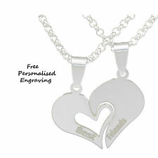 Best Friend Heart 2 Necklace Pendant Personalised name Engraved birthday Gift