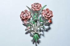 FINE VINTAGE ENAMEL SIGNED EXQUISITE CARNATION BIRTHDAY BROOCH SMALLER SIZE
