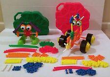 Kids K'Nex Footed Friends Rovin Rollers Case Storage Bin Almost 100 Pieces RARE!