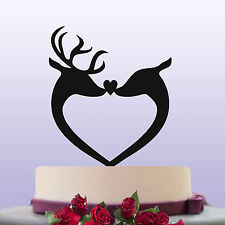 Deer Stag & Doe Bride & Groom Acrylic Wedding Cake Topper Decoration & Keepsake