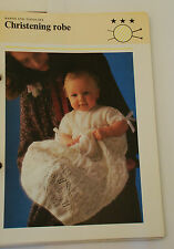 Knitting Pattern 3 Ply Babies Lacy Christening Robe 51cm